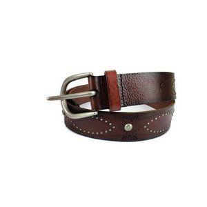 Fossil Brown Embellished Leather Belt. Size: L